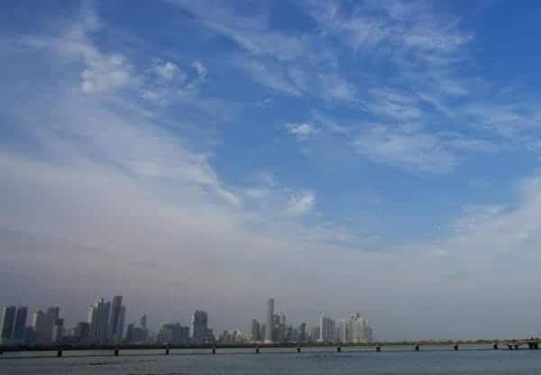Panorama view of Panama City under blue sky